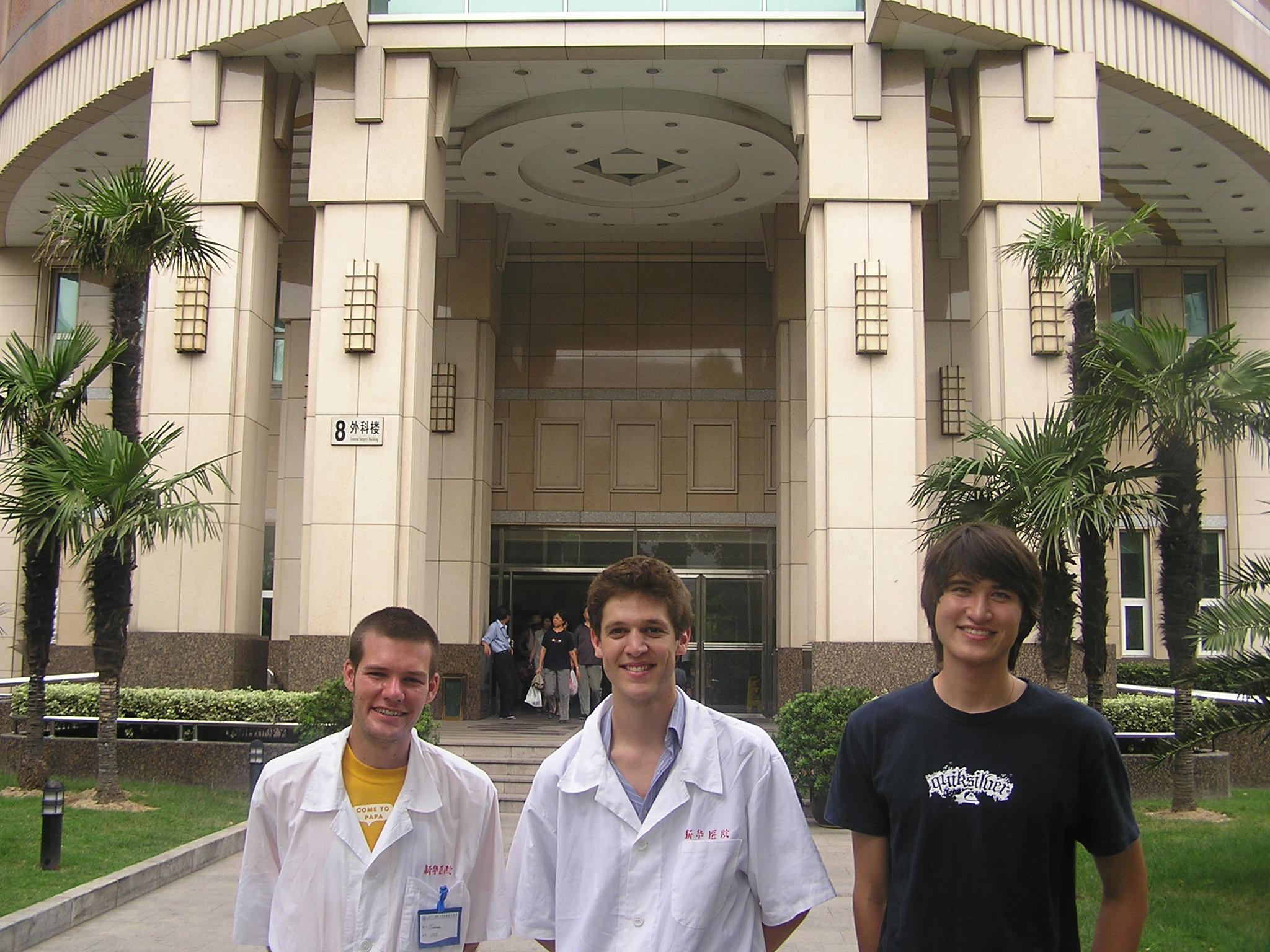 A group of Medicine interns pose outside the entrance of a hospital during their medical placements in China.